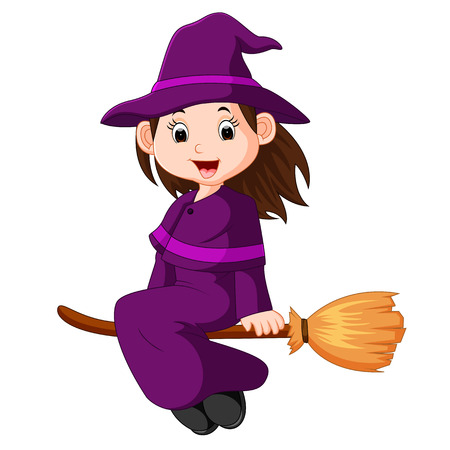 Cartoon little witch flying use a broomstick Vector Illustration