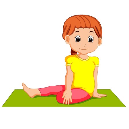 child sitting: Cute pregnant woman character doing yoga