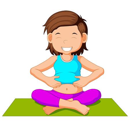 Leuk zwanger vrouwelijk karakter dat yoga doet