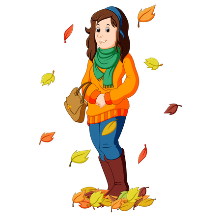 collect: Girl with autumn leaves