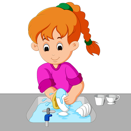 girl washing the dishes Stock Vector - 88598877
