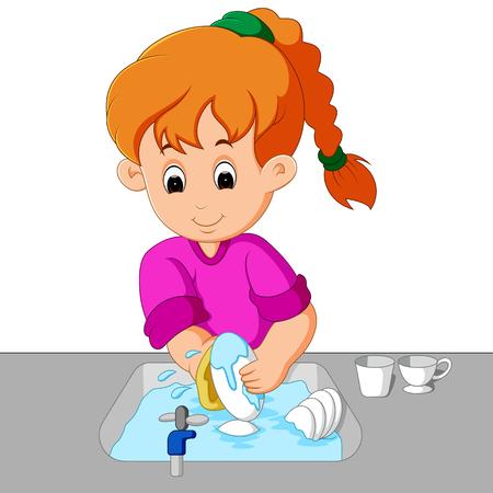 meisje de afwas wassen