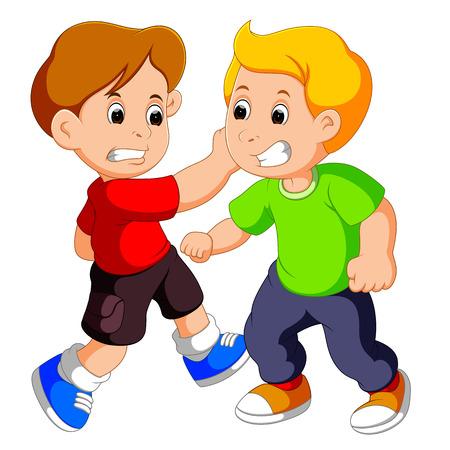 두 어린 소년 싸움 일러스트