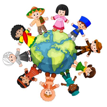 Różne kultury stojące razem trzymając się za ręce Ilustracje wektorowe
