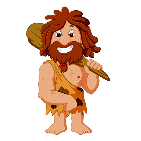 Cartoon caveman smiling