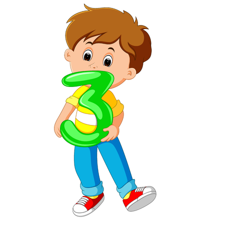 cute child holding balloon with number three