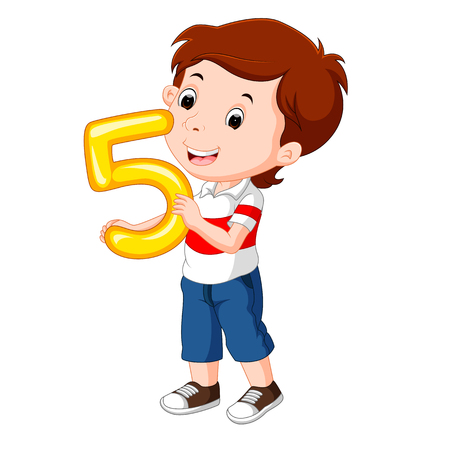 cute child holding balloon with number five