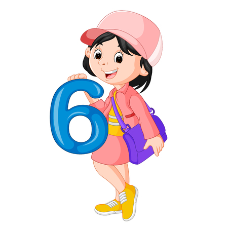 cute child holding balloon with number six Stock Photo