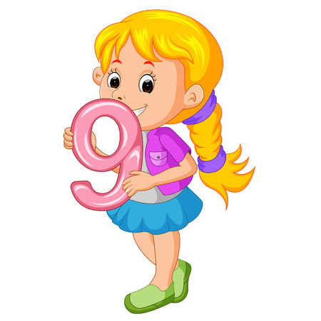 cute child holding balloon with number nine