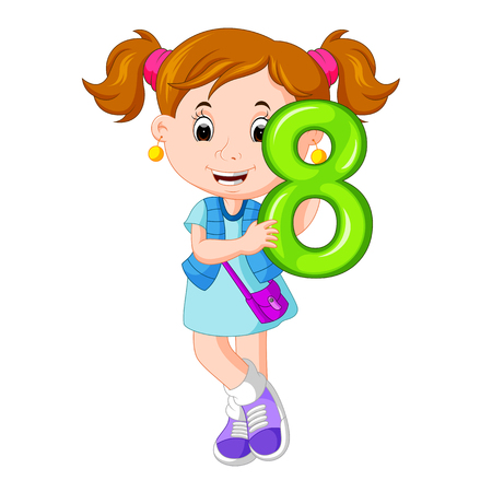 cute child holding balloon with number eight