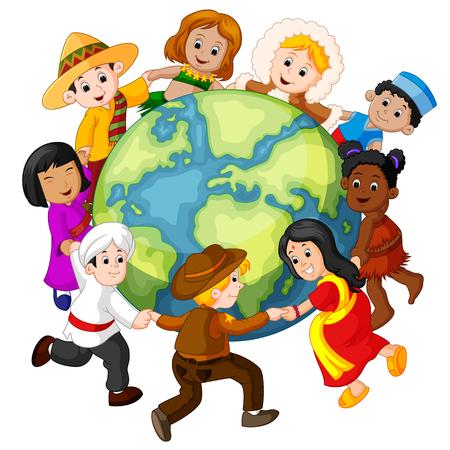 Dzieci trzymające się za ręce na całym świecie. Ilustracje wektorowe