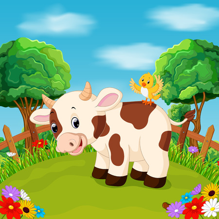 Cartoon happy cow smile in the farm Illustration