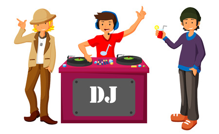 Young DJ mixing music on turntables on the stage of nightclub flat design.