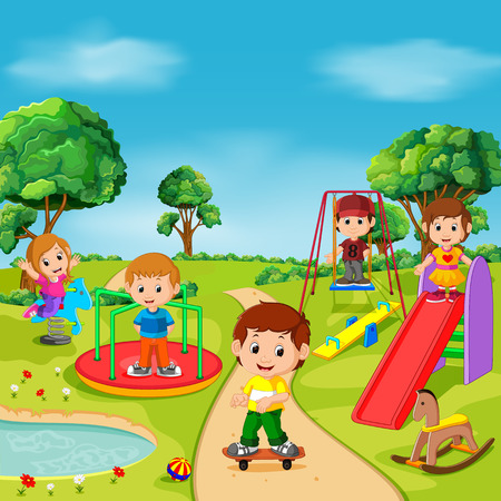 Dzieci bawiące się na świeżym powietrzu w parku Ilustracje wektorowe