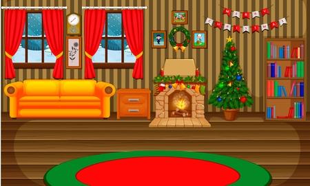 Kerst woonkamer met een boom en open haard