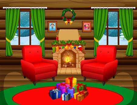 salon de noël avec un arbre et cheminée