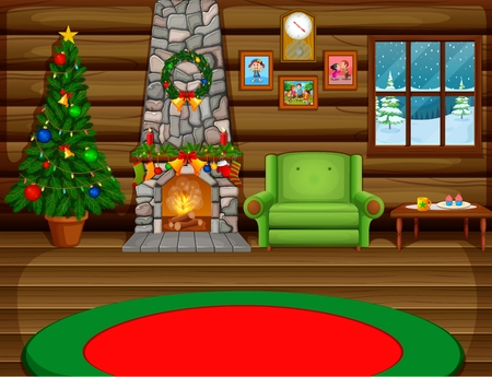 나무와 벽난로가있는 크리스마스 거실 스톡 콘텐츠