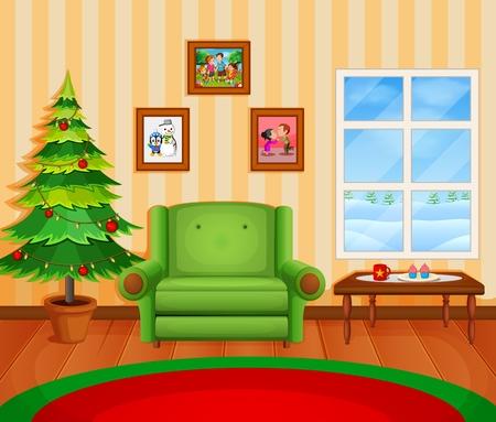 Weihnachten Wohnzimmer mit einem Baum und Kamin Standard-Bild