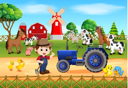 Farm scenes with many animals and farmers, vector illustration.