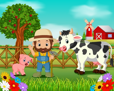 Farm scenes with many animals and farmers illustration.