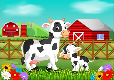 Cute cow in the farm, vector illustration.