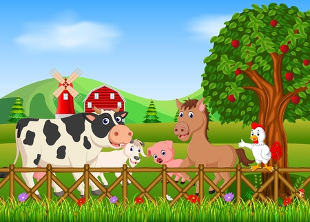 Collection animal in the farm, vector illustration. Illustration