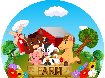 Collection animal in the farm in colorful cartoon illustration. Illustration