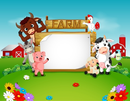 Collection farm animals with wooden sign, vector illustration. 向量圖像