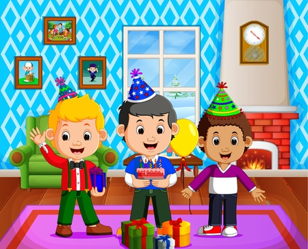 Cute kids in the living room during christmas Illustration