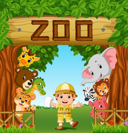 Collection of zoo animals with guide 일러스트