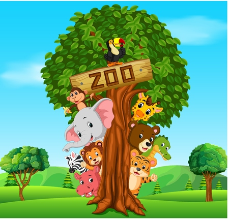 Collection of zoo animals with guide, vector illustration. Illustration