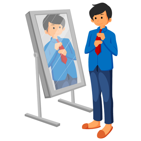 Caucasian business man adjusting tie in front of the mirror. Illustration