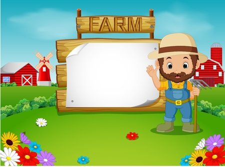 farmer with a blank wooden sign Stock Photo