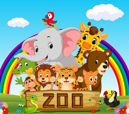 collection of zoo animals with guide Stock Photo
