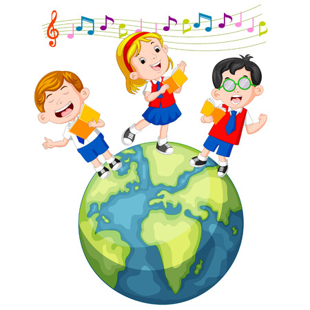 School children singing on the globe