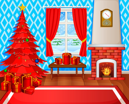 Christmas fireplace with Christmas tree, presents and armchair. Stock Illustratie