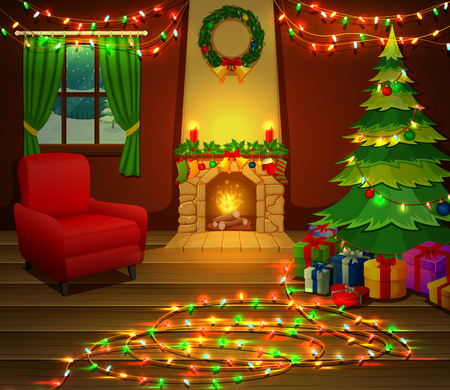 Christmas fireplace with Christmas tree, presents and armchair. Illustration