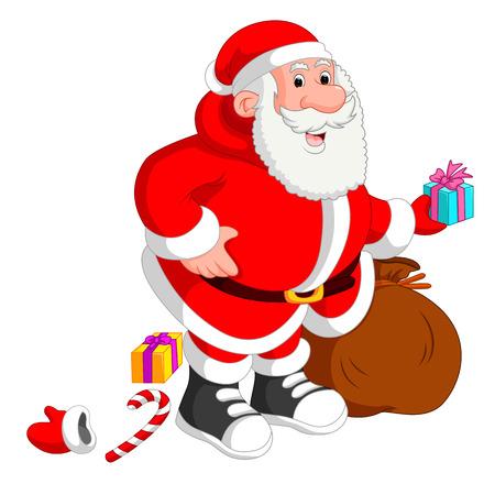 サンタ クロースのプレゼントの完全な袋を運ぶ