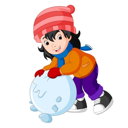 Cartoon kid playing with snow Vectores