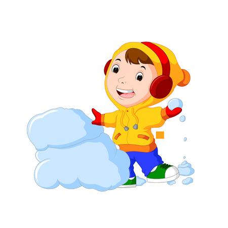 Cartoon kid playing with snow 일러스트