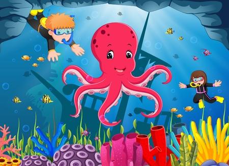Leuke octopus onder de zee met jongen en meisje duiken