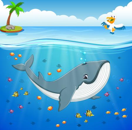 Cartoon whale under the sea 일러스트