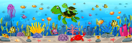 Cartoon turtle underwater illustration. Vectores