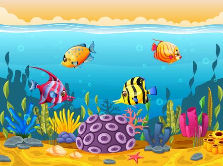Cute fish cartoon in the sea.