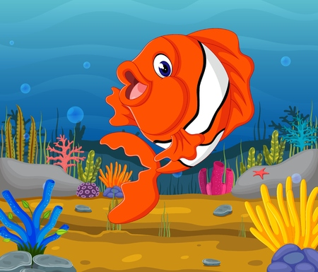 Cute fish cartoon in the sea.