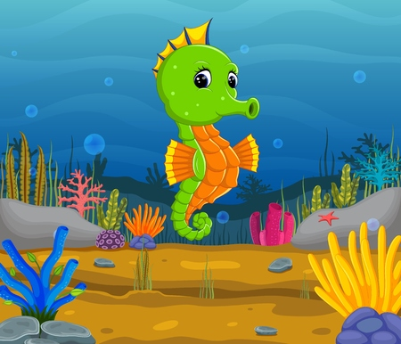 Cartoon tropical sea horse with beautiful underwater world Çizim