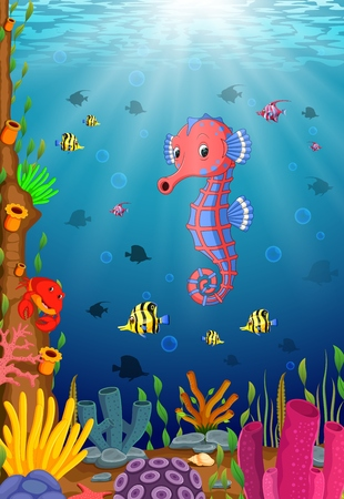 Cartoon tropical sea horse with beautiful underwater world Vectores