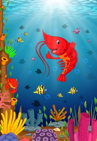 Cartoon tropical lobster with beautiful underwater world Vectores