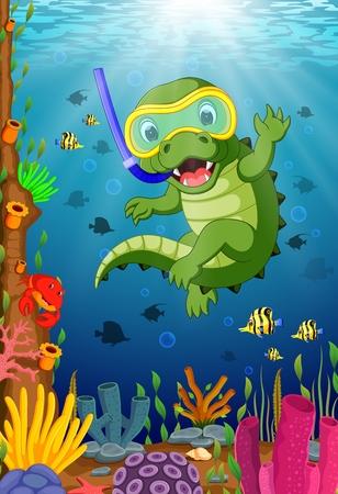 Crocodiles snorkeling in underwater sea