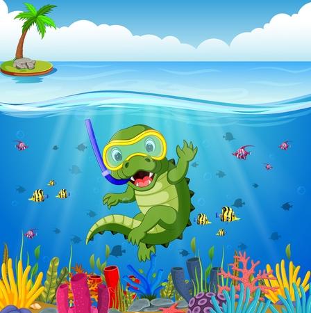 Crocodiles snorkeling underwater sea Illustration